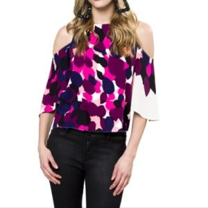 NEW Julie Brown Abstract Print Cold Shoulder Top